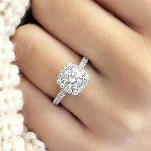 18K White Sapphire Ring White Gold Filled